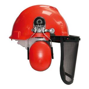 Skyddshjälm med visir och hörselkåpor